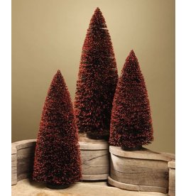 Bethany Lowe Designs Black Bottle Brush Tree w/ Orange Glitter s/3