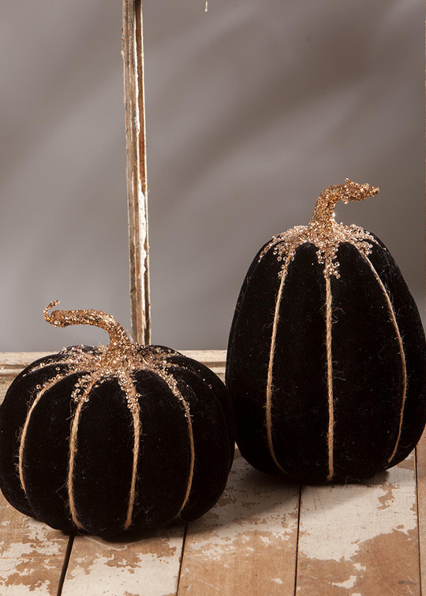 Bethany Lowe Designs Elegant Black Velvet Pumpkin asst.
