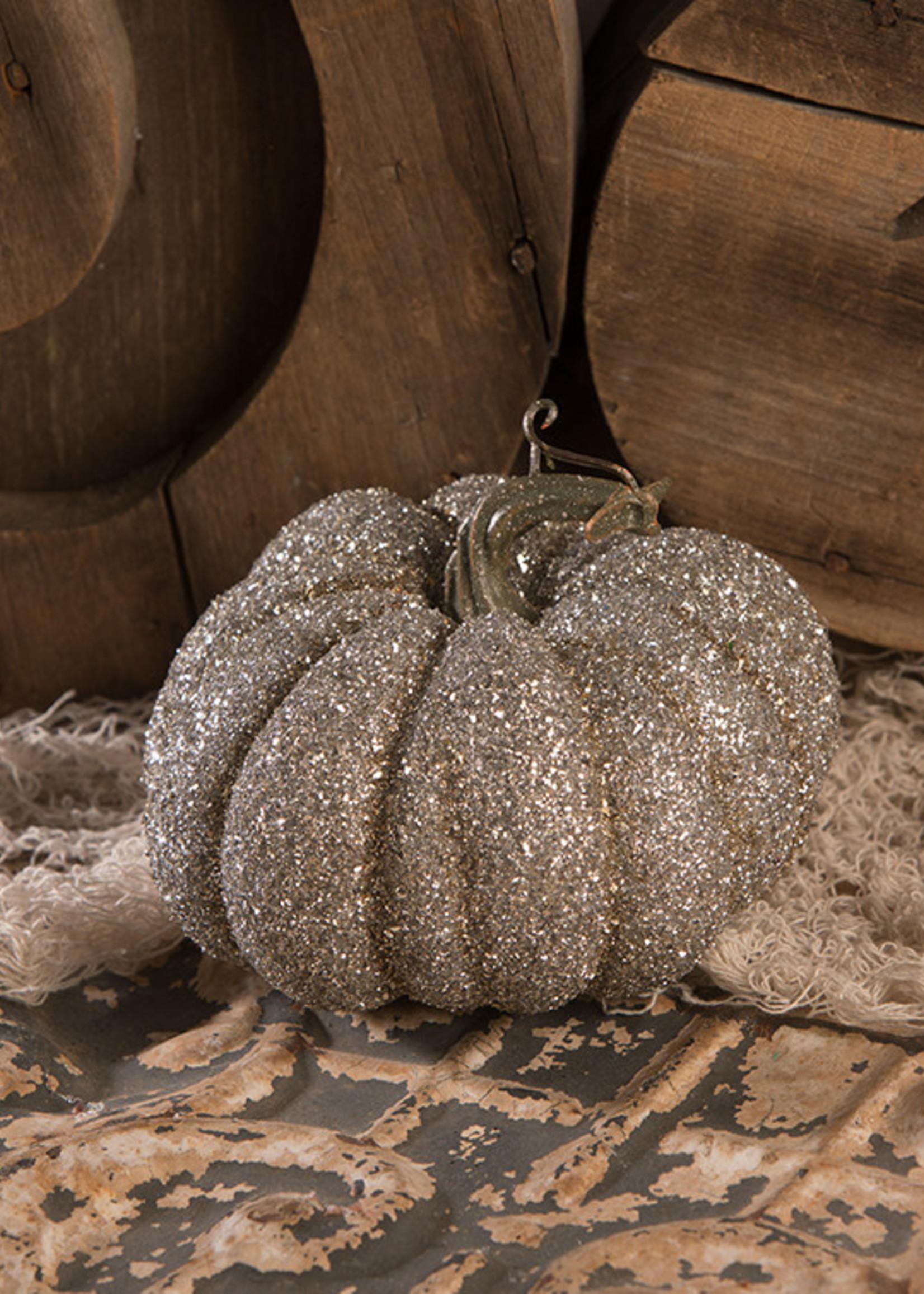 Bethany Lowe Designs Glass Glittered Pumpkin Sm