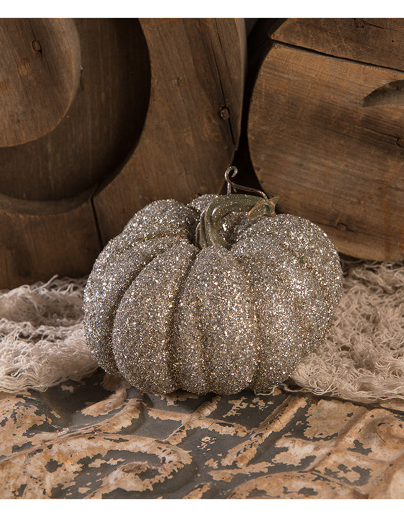Bethany Lowe Designs Glass Glittered Pumpkin Sm