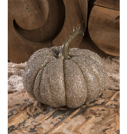 Bethany Lowe Designs Glass Glittered Pumpkin Lg