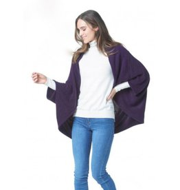 K & K Interiors Grey 100% Acrylic Knit Cozy Shrug Cape