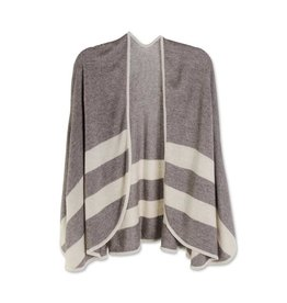 K & K Interiors Brown and Ivory Border Stripe Cape