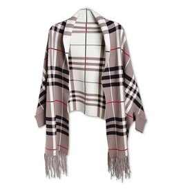 K & K Interiors Taupe/Cream Black Plaid Wrap w/ Sleeves