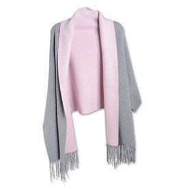 K & K Interiors Grey and Pink Lining Wrap w Sleeves