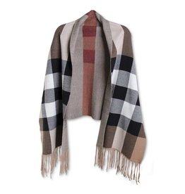 K & K Interiors Wide Red Stripe Black and Brown Wrap w Sleeves
