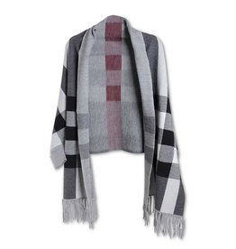 K & K Interiors Wide Red Stripe Plaid Grey and Black Wrap w/ Sleeves