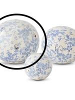 K & K Interiors 6.75 Inch Vintage Blue and White Ceramic Ball