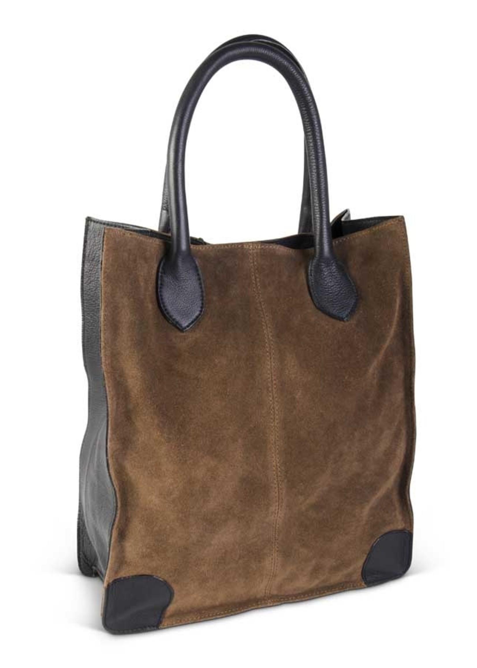 K & K Interiors Brown and Black Suede Bag
