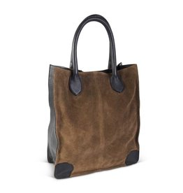 K & K Interiors Brown and Black Suede Bag