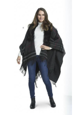 K & K Interiors Red Black Gray Plaid Fur Cape