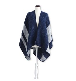 K & K Interiors Heather Blue & Grey Cape w/ Stitched Edge
