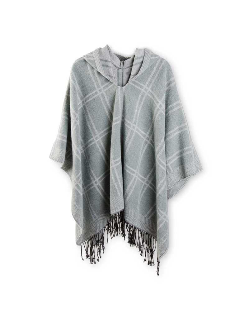 K & K Interiors Woven Seafoam Green & Grey Plaid Hooded Poncho Cape w Fringe