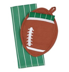 Design Imports Football Potholder Gift Set w Dishtowel