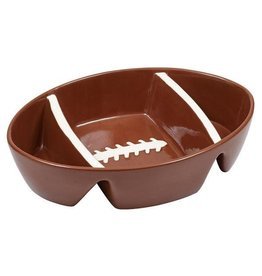 Design Imports Football Ceramic 3 Section Dish