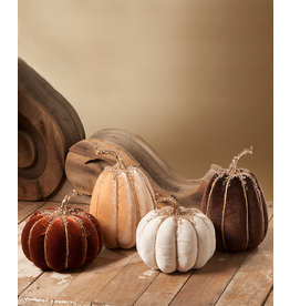 Bethany Lowe Designs Elegant Fall Velvet Pumpkin Small White