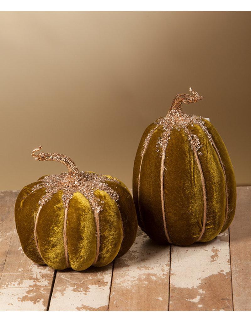 Bethany Lowe Designs Small Olive Velvet Pumpkin