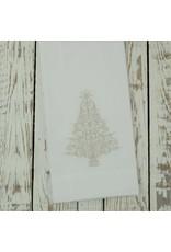 Crown Linen Designs Sparkle Tree Towel, White (Platinum)