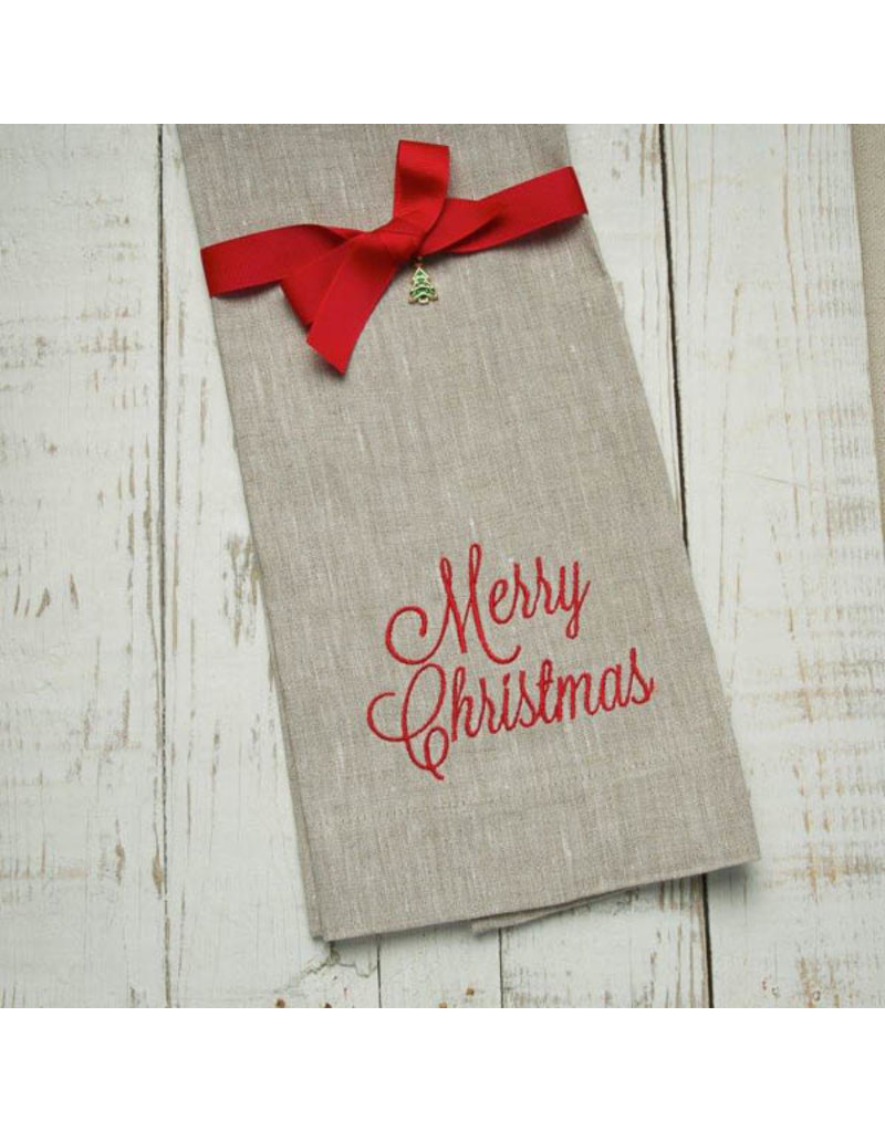 Crown Linen Designs Merry Christmas White Towel(Taupe)