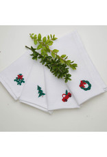 Crown Linen Designs Napkin Set/4 Luncheonette Christmas Asst.