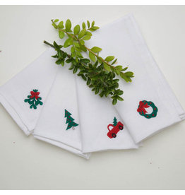 Crown Linen Designs Napkin Set/4 Luncheonette Christmas Asst.