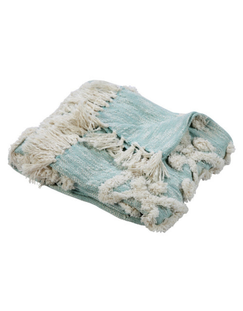 Ox Bay Trading 4'2 x 5' Overtufted Throw Sky Blue