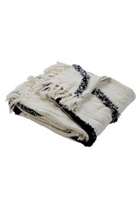 Ox Bay Trading 4'2 x 5' Overtufted Throw Natural Navy
