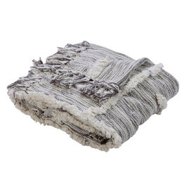 Ox Bay Trading 4'2 x 5' Overtufted Throw Gray Natural