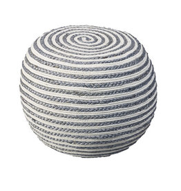 Ox Bay Trading Gray & White Pouf