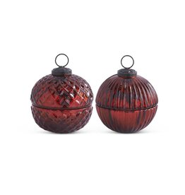 "K & K Interiors 3.5"" Filled Red Mercury Glass Lidded Ornament Candle"