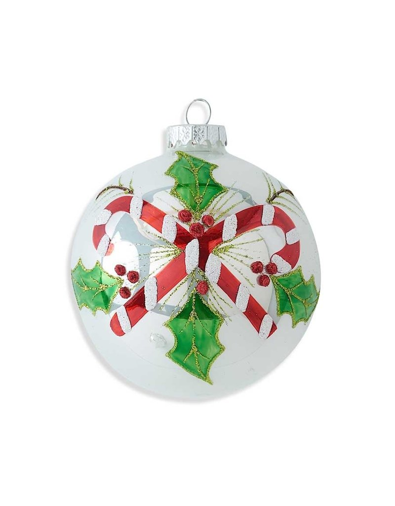 """K & K Interiors 4"""" Round White Glass Ornament w/ Candy Canes & Holly"""