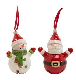 "K & K Interiors 5.5"" Snowman Bell Ornament"