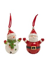 "K & K Interiors 5.5"" Santa w/ Arms Up Bell Ornament"