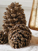 K & K Interiors Box / 24 Gold Glitter Pinecones