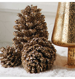 K & K Interiors Box / 24 Gold Glitter Pinecones