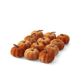 "K & K Interiors Set/12 2.25"" Orange Velvet Pumpkins"