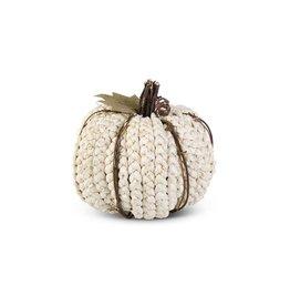 "K & K Interiors 6.25"" Cream Braided Cornhusk Pumpkin w/ Grapevine Accents"