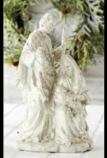 """K & K Interiors 11.5"""" White Glitter Nativity"""