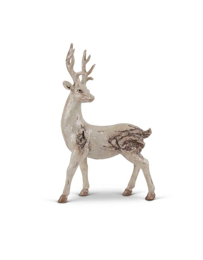 "K & K Interiors 14"" White Wash Knotty Deer"