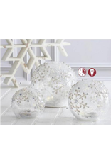 K & K Interiors Small Clear Glass Snowflake Tabletop Glass Orb