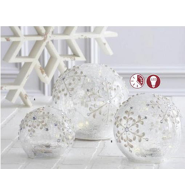 K & K Interiors Large Clear Glass Snowflake Tabletop Glass Orb