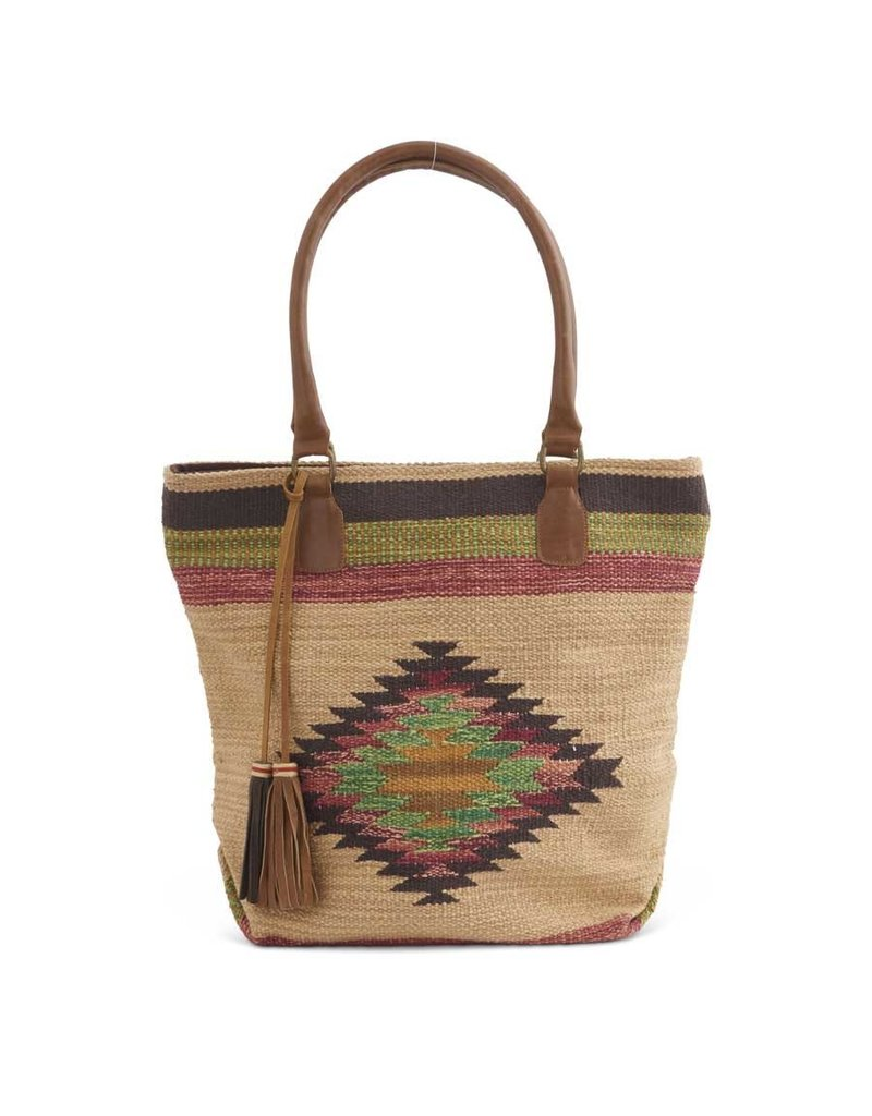 Brown Multi Southwest Motif Woven Handbag