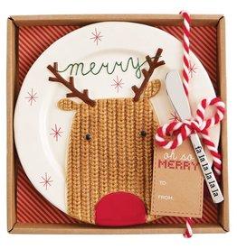 Mud Pie Christmas Cheese Set - Reindeer