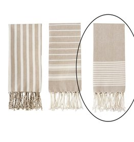 Mud Pie White Stripe Turkish Towel