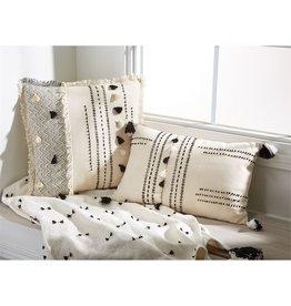 Mud Pie Rectangle White Tassel Pillow