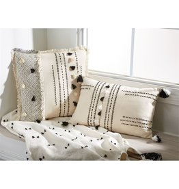 Mud Pie Square White Tassel Pillow
