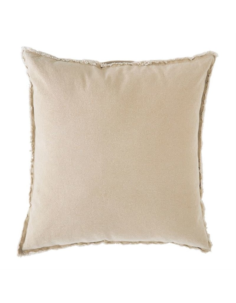Mudpie Khaki Washed Canvas Pillow