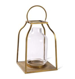 "K & K Interiors 18"" Lantern w/ Gold Finish & Glass Hurricane"
