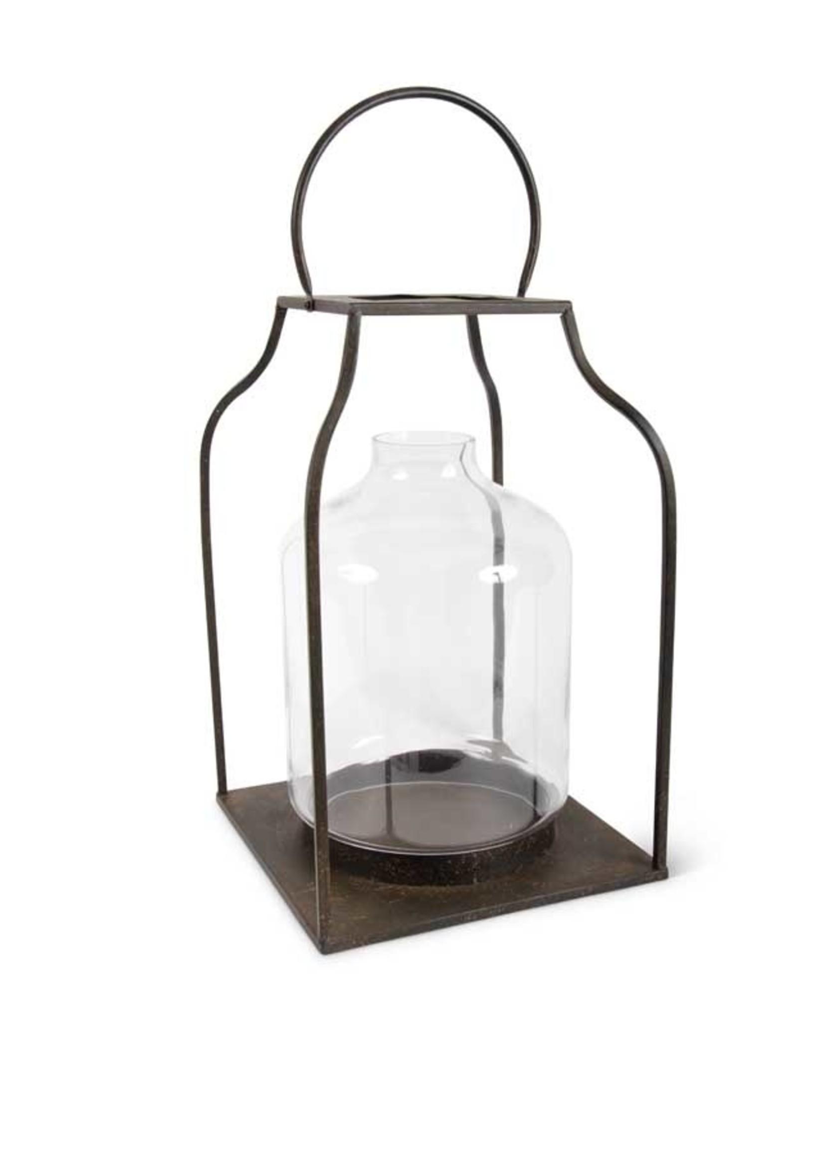 "K & K Interiors 27"" Lantern w/  Bronze Finish & Glass Hurricane"