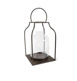 "K & K Interiors 27"" Lantern w/  Bronze Finish & Glass Hurricane"